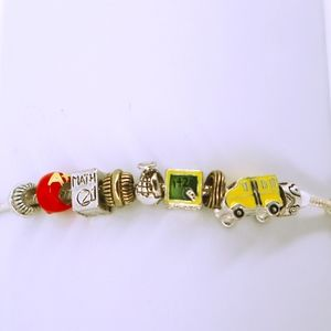Charm Bracelet Teacher Math Chalkboard School Bus